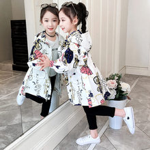 Girls Trench Coats Double Breasted Jackets For Girls Clothing Tops Kids Windbreaker Spring Autumn Outerwear for 4-13 Years Old