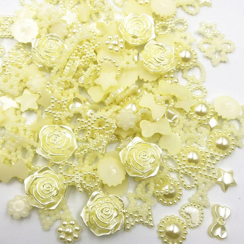 Nœud de fleur demi-rond en résine ABS jaune, 100 pièces, perles extraterrestres pour l'art, dos plat, strass Non correcteurs, perles pour chaussures, téléphone bricolage