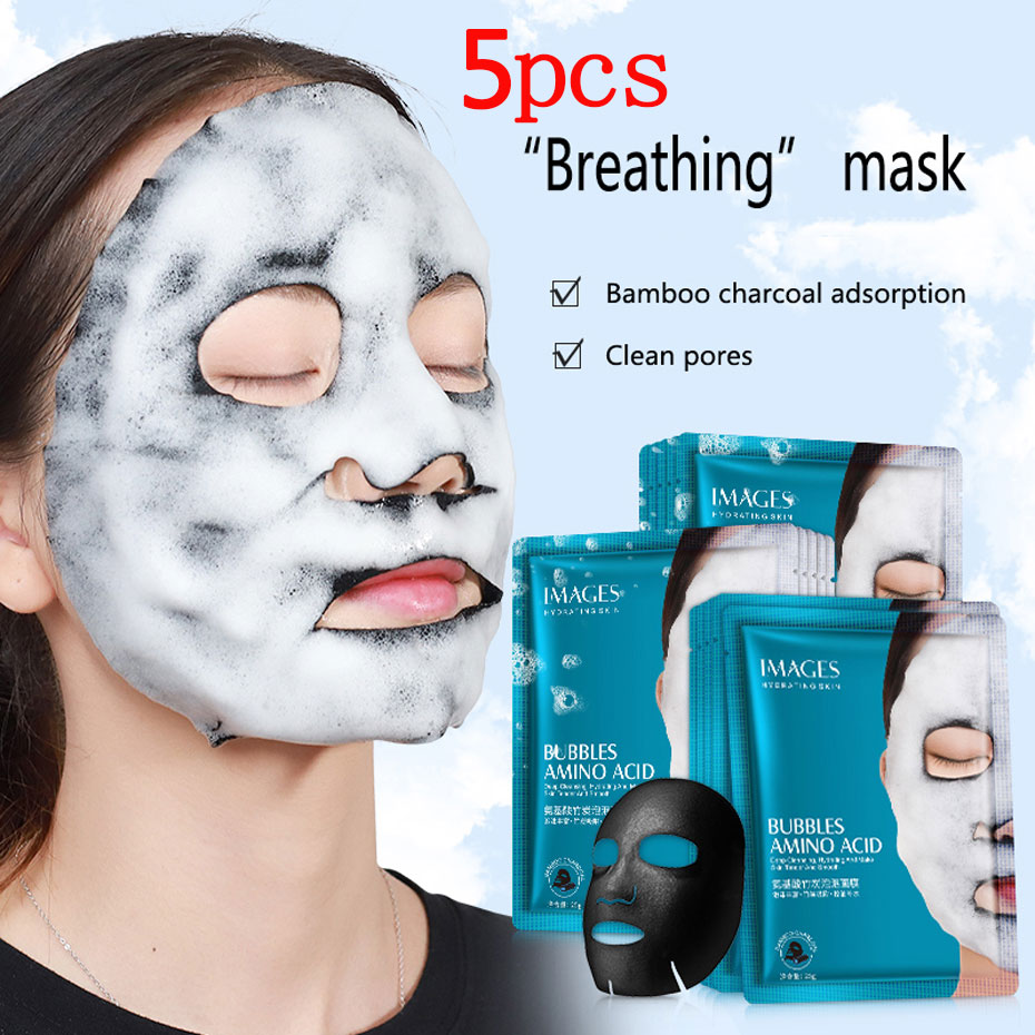 5pcs Images Amino Acid Bamboo Charcoal Bubble Mask Pores Deep Clean Black Head Blackhead Treatment Black Mask Facial Skin Care