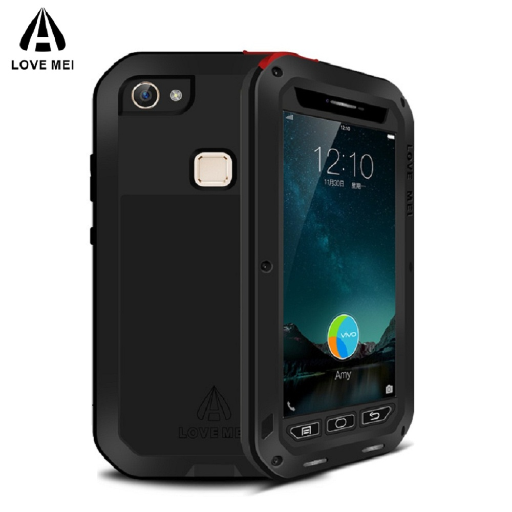 LOVE MEI  Aluminum Metal Case For BBK vivo X6 Armor Shockproof Phone Case Cover For vivo Xplay5 Xshot Tempered Glass Protective-in Fitted Cases from Cellphones & Telecommunications