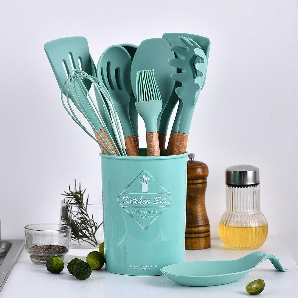 Image 2 - 8/9/10/11/12/13Pcs Cooking Tools Set Premium Silicone Kitchen Utensils Set With Storage Box Spatula Soup Spoon Kitchen Tools-in Cooking Tool Sets from Home & Garden