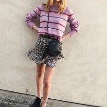 Женский трикотажный свитер в разноцветную полоску, Женский О-образный вырез Трикотаж пуловер, женские джемперы