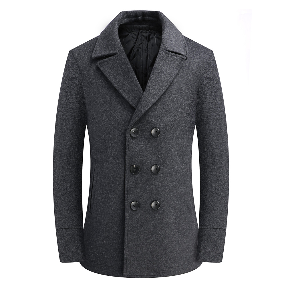 Thoshine Brand Winter 50% Wool Men Thick Coats High Quality Slim Fit Double Breasted Fashion Wool Blends Outwear Jackets Pockets