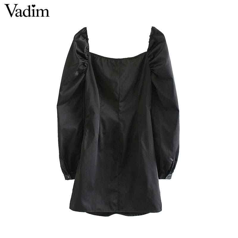 Vadim Nữ Thanh Lịch Sang Trọng Đen Mini V Cổ Dây Kéo Bên Hông Nữ Cổ Xếp Ly Thiết Kế Áo Vestidos QD125