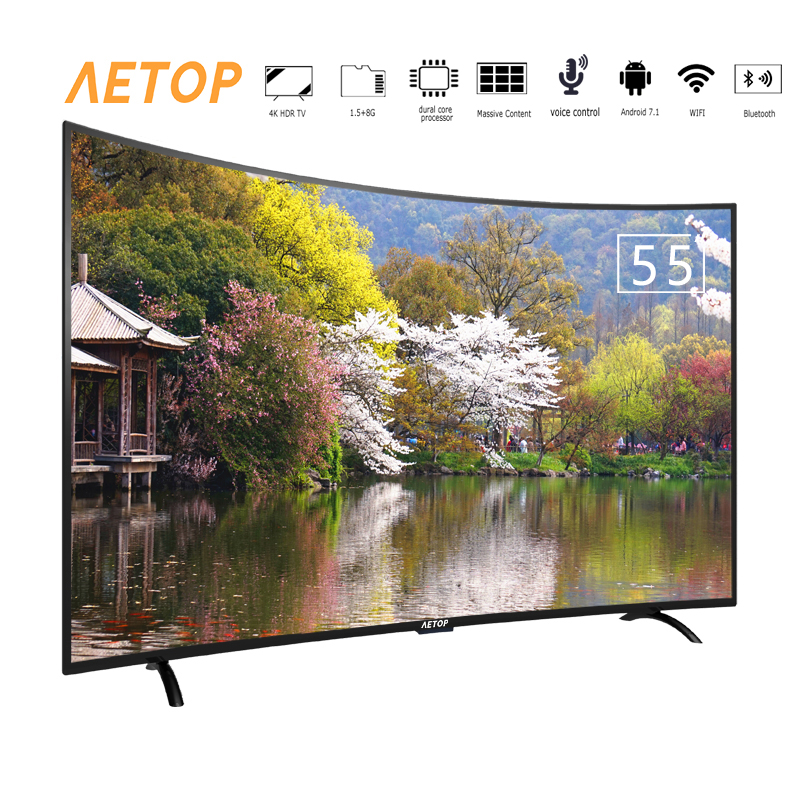 free shipping -55 inch hot sale wifi smart tv ultra hd flat screen android television curved tv 4k with bluetooth