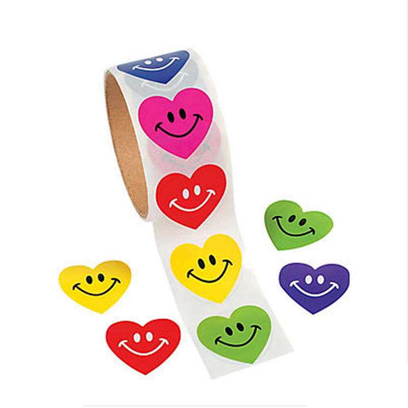 One Roll Heart Shape Adhesive Tape Sticker With 100pcs Smiley Emoji Stickers For Kids Great Gift Colorful Stationery Sticker