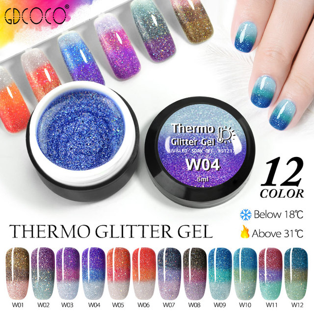 GDCOCO Temperature Change Glitter Color Gel Polish Cool Thermal Magic Effect Nail Varnish Gel Soak Off UV LED Gel Lacquer 3