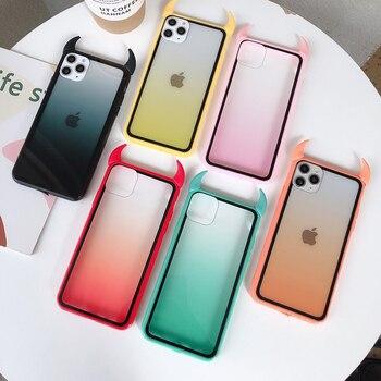 Cubierta de la cáscara del teléfono del enchufe del polvo de los cuernos del diablo para el iPhone 11 Pro 6 6s 7 8 Plus X XR XS Max caja fina del gradiente del arco iris del acrílico