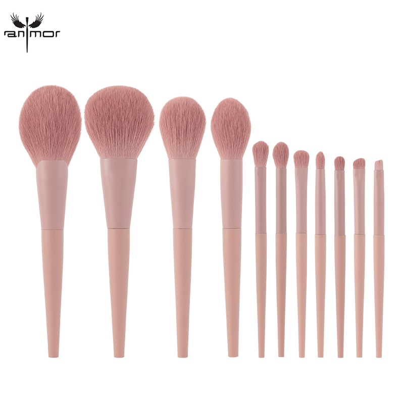 Anmor 11Pcs/lot  Makeup Brushes Set Synthetic Hair Professional Make Up Brush For Eyeshadow Foundation Powder Eyeliner Eyelash