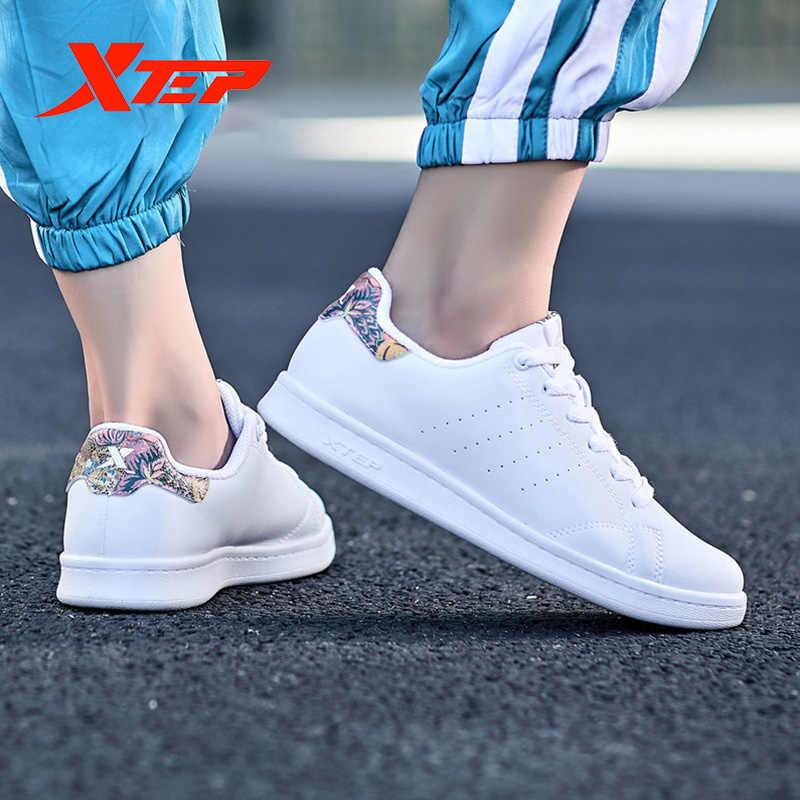 Xtep nowych mężczyzna kobiet deskorolce buty para skórzane Unisex biały Stan trampki przypadkowi oddychające 983218319266