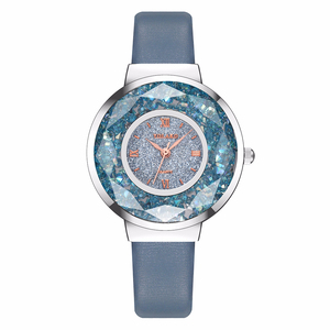 Image 3 - YOLAKO 女性革移動ダイヤモンドの腕時計高級レディースクォーツ腕時計時計リロイ Mujer レロジオ Feminino