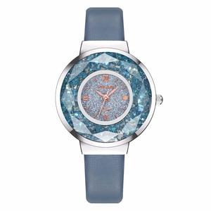 Image 3 - YOLAKO Women Leather Moving Diamond Watch Luxury Ladies Quartz Wrist Watches Clock Reloj Mujer Relogio Feminino