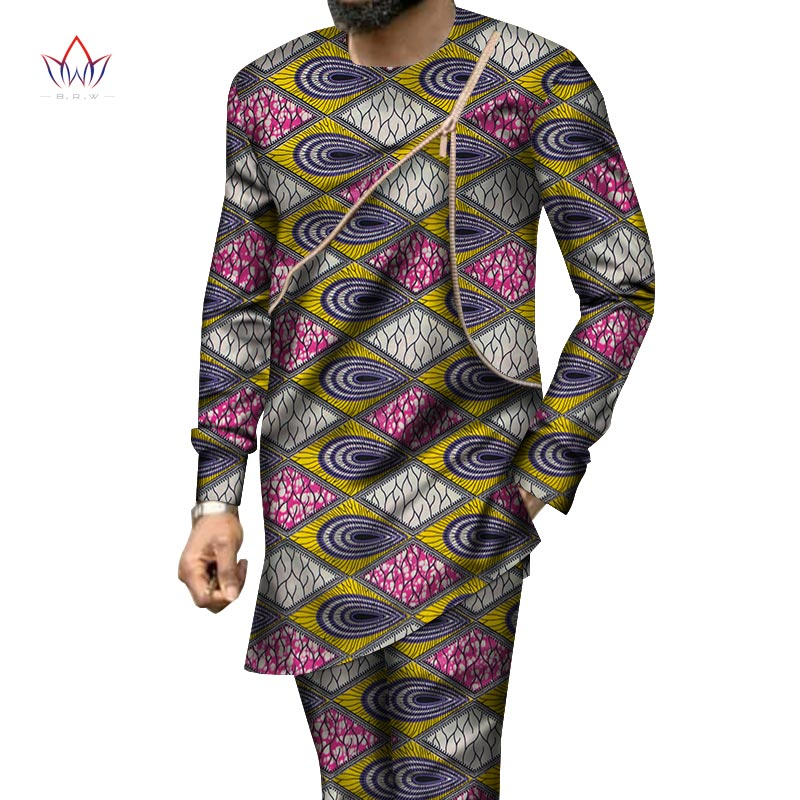 Autumn African Mens Pant Set Traditional Top And Trousers Set Dashiki African Wax Print Clothing Plus Size Pant Suits WYn950