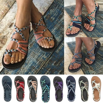 2020 Roman Summer Sandals Explosion Color Matching Rope Knot Beach Toe Sandals Women Plus Size 35-43
