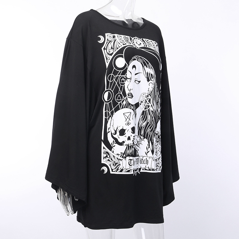 H2a29e014a266493cad49bac6eae81567G - Gothic women T-shirt Loose black rock Harajuku cool light print top Halloween party long shirts summer female pok clothes