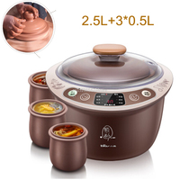 D,Purple Clay Healthy Electric Cookers 380W 2.5L Smart Slow Cooker with 4 Pot 9.5 Hour Appointment Timing Soup Pot Anti dry