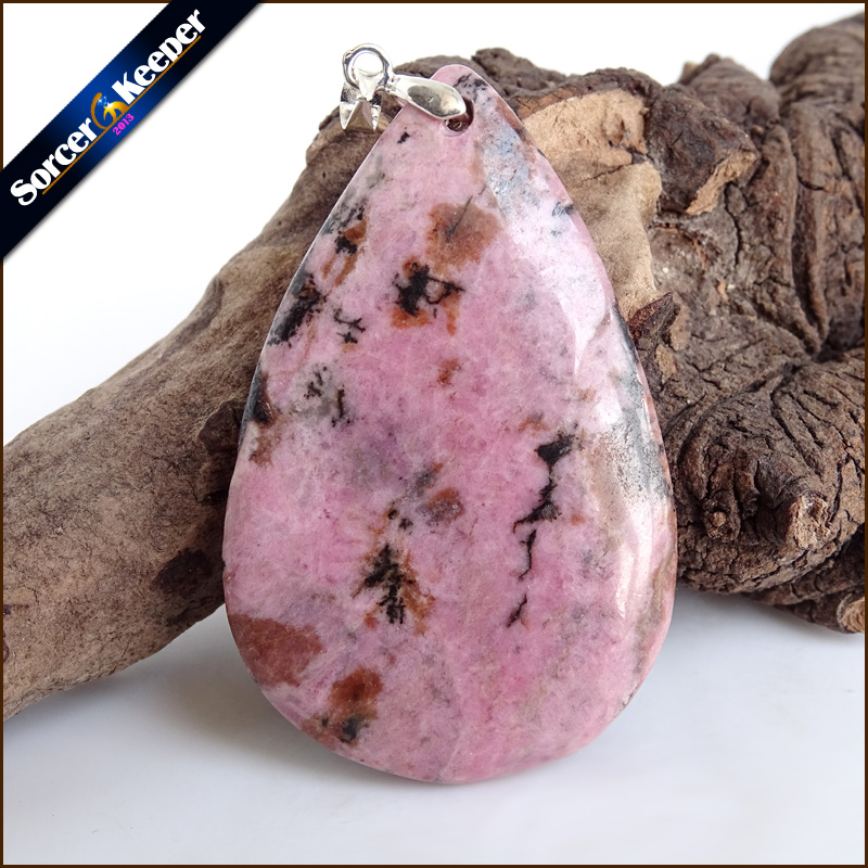 Natural Stone Real Rhodonite Stone Bijoux Vintage Diy Beads Pendant Costume Jewellery Men's Charm Necklace with Gift Box ZS354