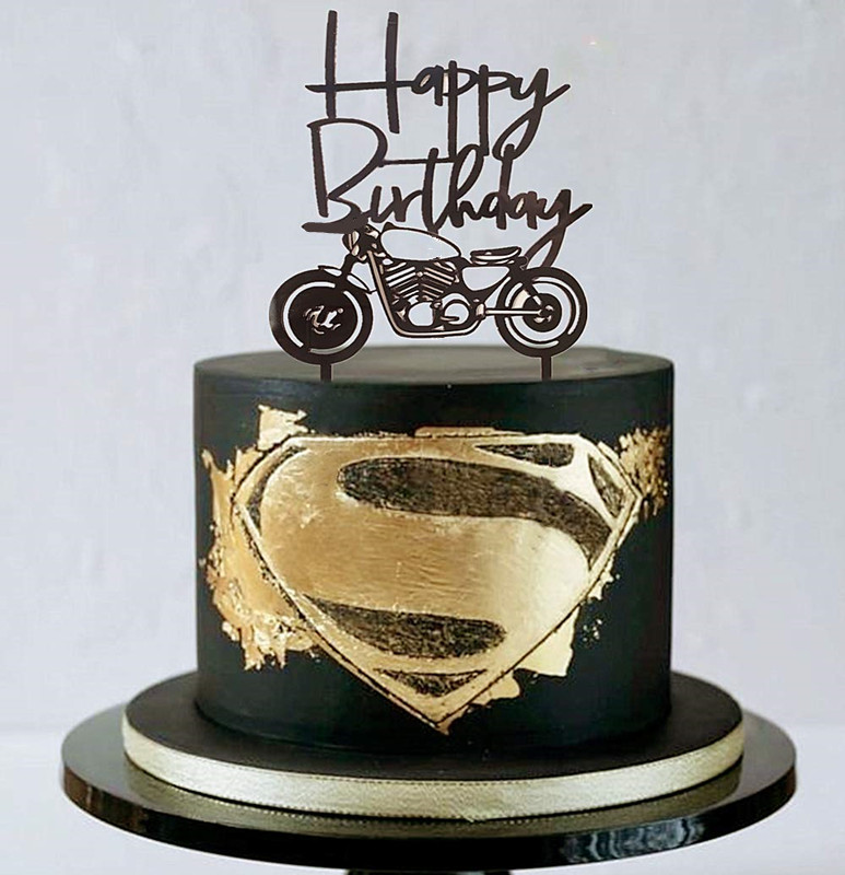 Remarkable Acrylic Black Motorcycle Cake Topper Scooter Happy Birthday Cake Funny Birthday Cards Online Overcheapnameinfo