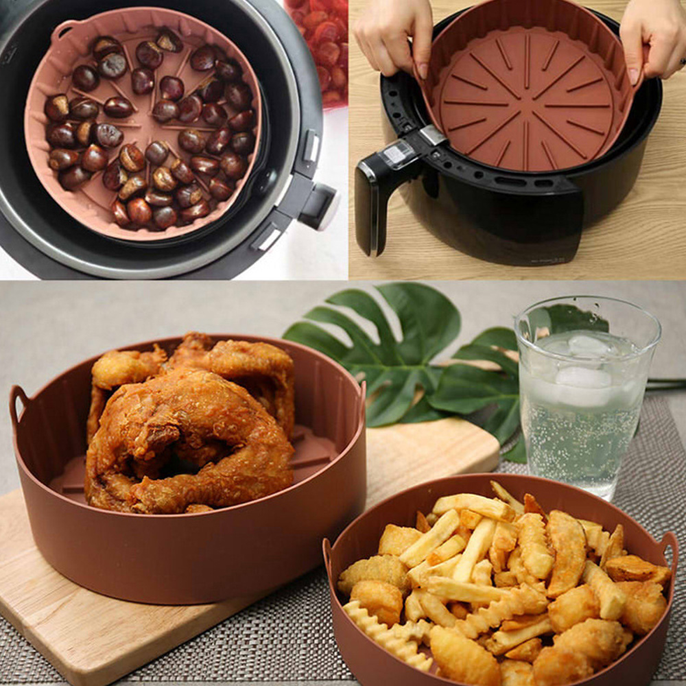 Air Fryer Silicone Pot Food Safe Air Fryers Oven Accessories Silicone Mold Baking Tool Grilling Pan Air Fryer Baking Mat