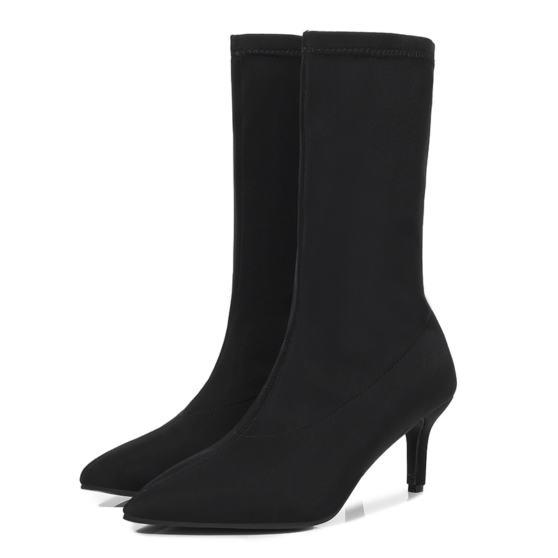 Women Kitten Heel Socks Boots Sexy Ladies Pointed Toe Party Boots Solid Winter Mid Calf Boots Female Thin High Heels Booties D20
