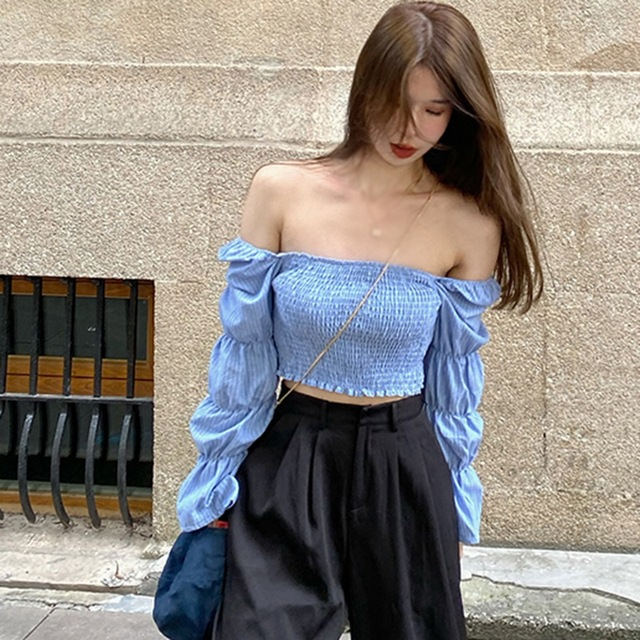 Women Blouses Striped Square Collar Shirts Pleated Slimming Lantern Long Sleeve Camiseta Top One Size Vetements Femmes 4