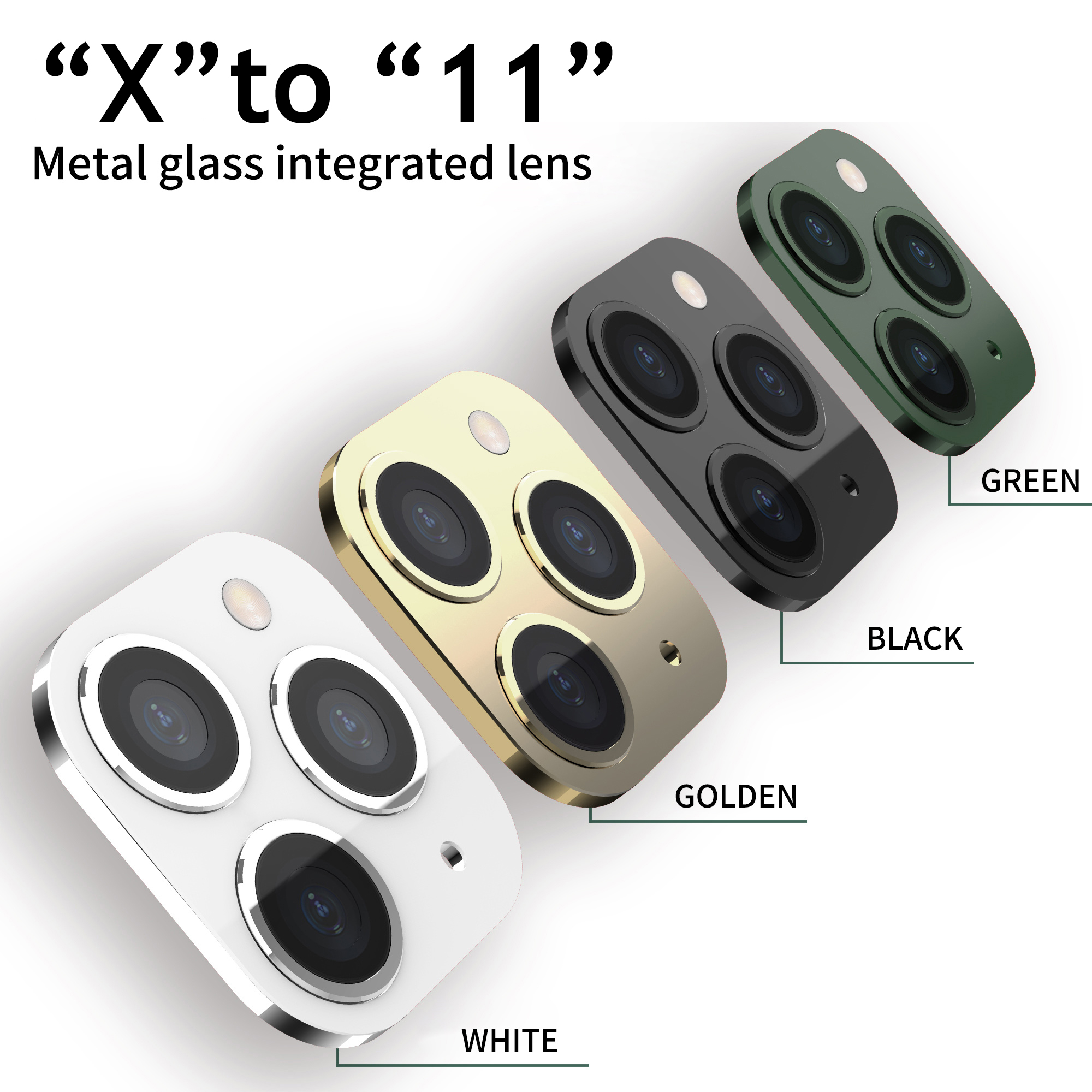 Image 2 - 3D Fake Rear Camera Lens Sticker For iPhone X XS Max Seconds Change To 11 Pro Max XR Modified iPhone11 Metal Back Protector Film on