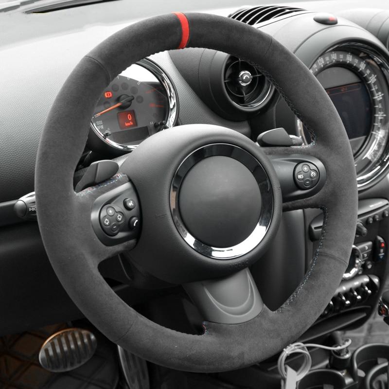 RED STITCH SUEDE ARMREST SKIN COVER FITS BMW MINI F55 F56 2014-2016