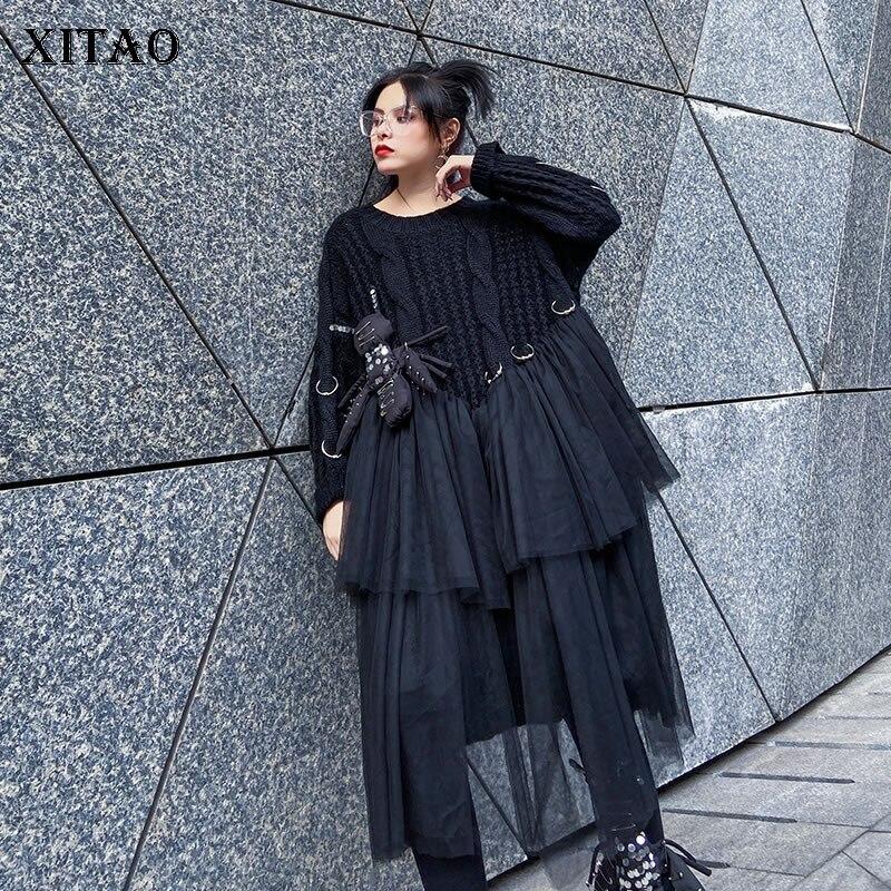 XITAO Streetwear Frauen Kleidung 2020 Frühjahr Neue Kleider Splice Mesh Cartoon Puppe Frauen Kleid Plus Größe frauen Kleidung XJ3135