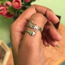 Пользовательские кольца с буквенным сердечком персонализированные