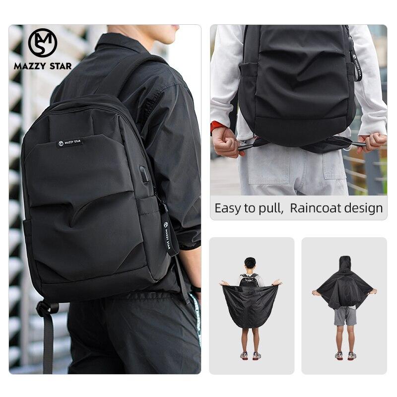 Mazzy Star 15.6 inch Laptop Backpack Raincoat Male Bag Waterproof School bag Travel Male Bag Anti-thief USB charging fashion bag