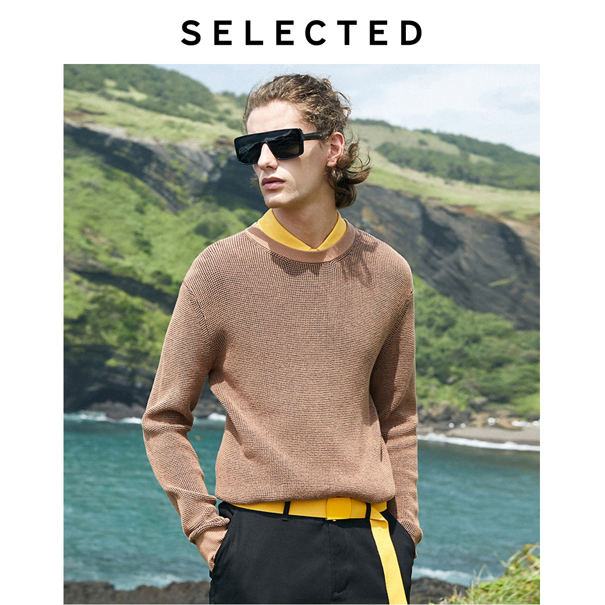 SELECTED Men's Autumn & Winter 100% Cotton Round Neckline Knit LAB|419425506