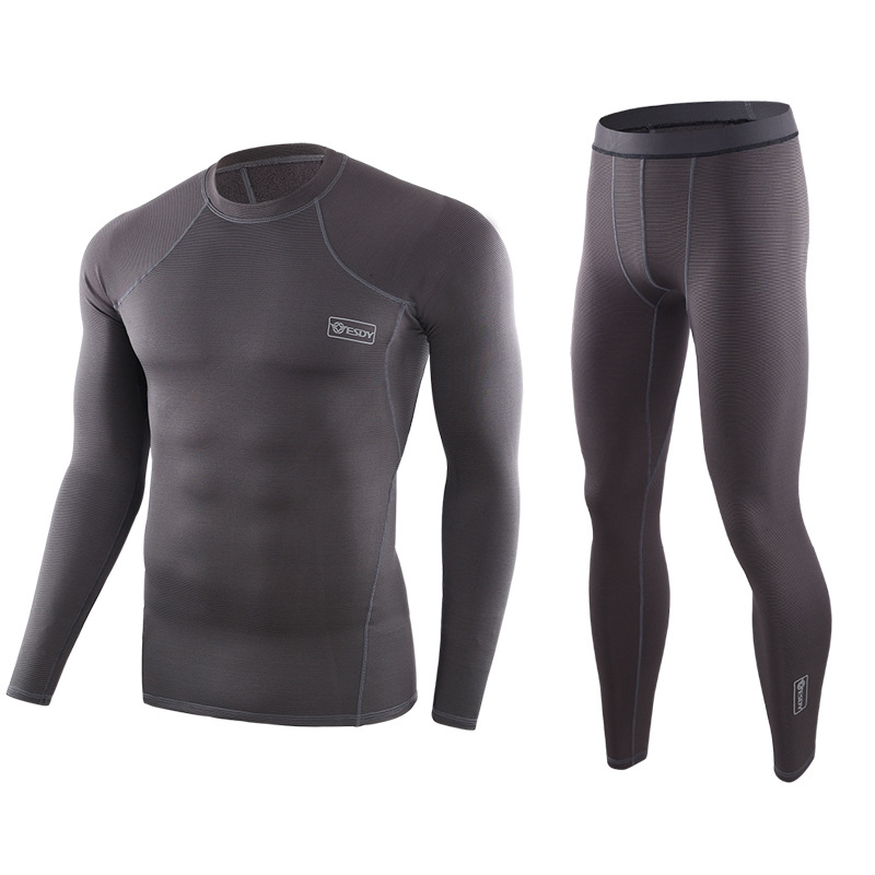 Autumn Winter New Tactical Thermal Underwear Men Underwear Sets Compression Fleece Quick Drying Thermo Underwear Top + Pants E