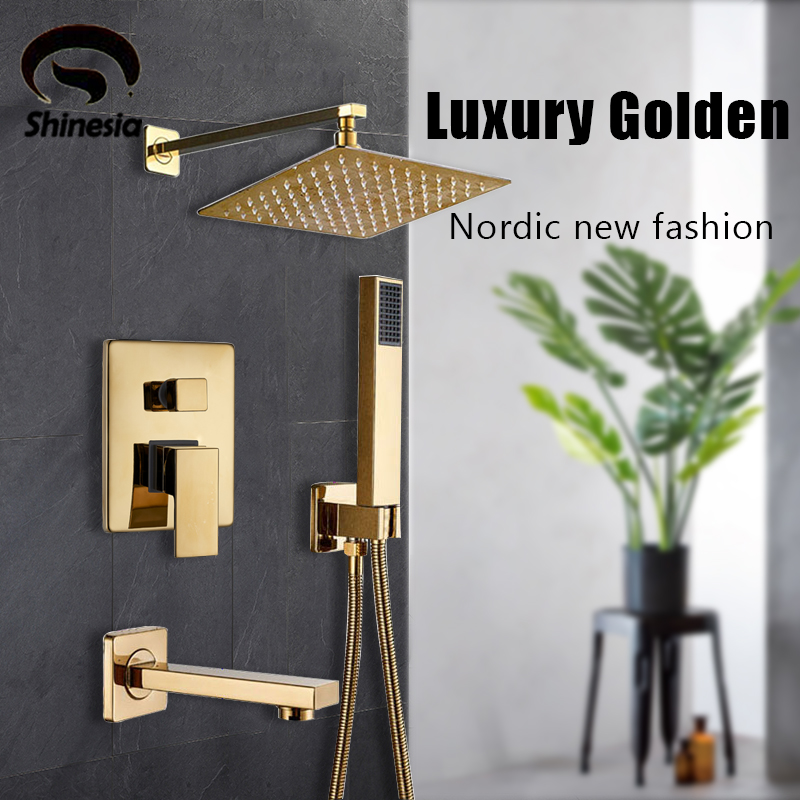 H2a2a92888ae741298c4ae3353e26e871U Shinesia Luxury Golden Modern Concealed Shower Faucet Set Hot Cold Water Mixer Value Brass 1 way 2 way 3way Mixer Bathroom Crane
