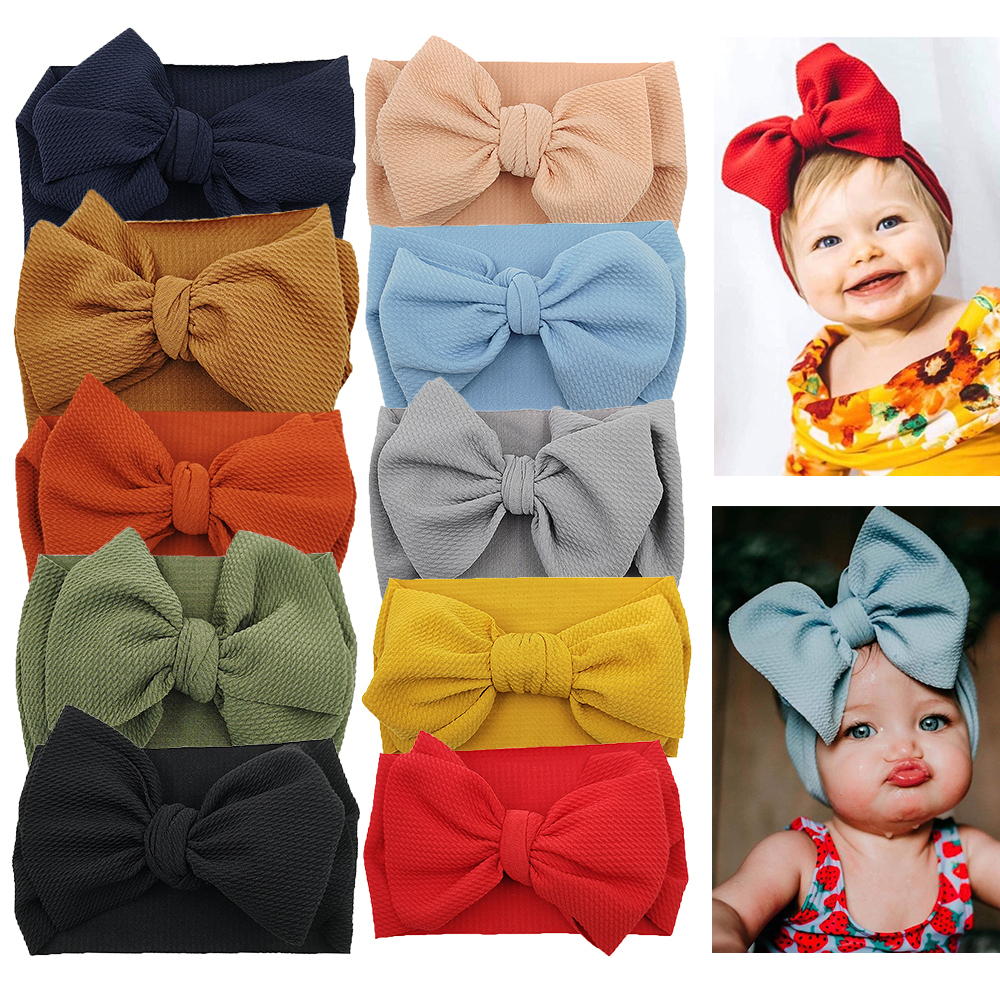 10pcs//set  Newborn Baby Girl Bow Elastic Headband Headwrap Photo Props Acces