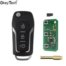 Okeytech 3 botões 433mhz 4d60/4d63 chip modificado flip dobrável remoto chave do carro para ford focus 2 3 mondeo fiesta sem corte fo21 lâmina