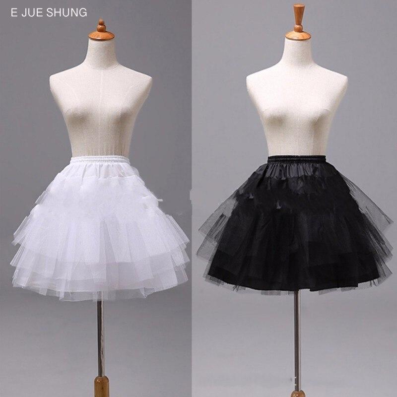 E JUE SHUNG 3 Layers Tiered Short Petticoats White Black Lolita Cosplay Petticoat Ballet Tutu Skirt Rockabilly Crinoline