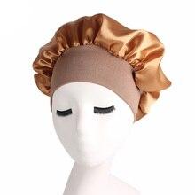 Hair-Care-Bonnet Night-Sleep-Cap Bonnet-De-Nuit Satin Women for Unisex Wide-Brimmed Solid