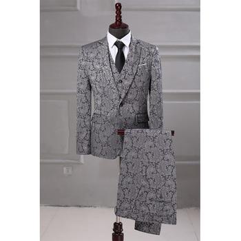 Mens Jacquard Three-pieces Suit