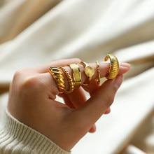 Pierścienie Croissant ze stali nierdzewnej dla kobiet pleciony skręcony sygnet Chunky Dome Ring układanie zespołu biżuteria kreatywny pierścionek