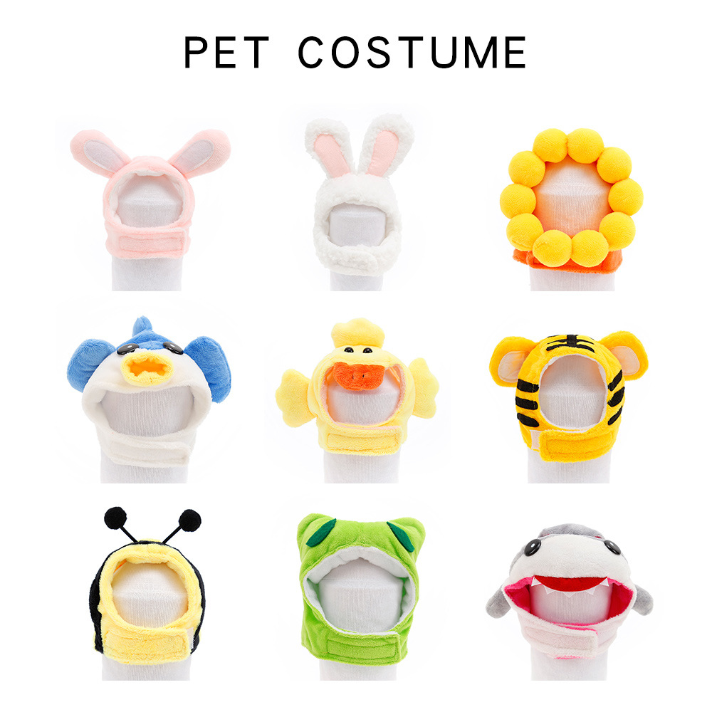 Funny Cute Pet Costume Cosplay Rabbit Tiger Duck Hat Cap for Cat Halloween Xmas Clothes Fancy Dress with Ears Bunny Party