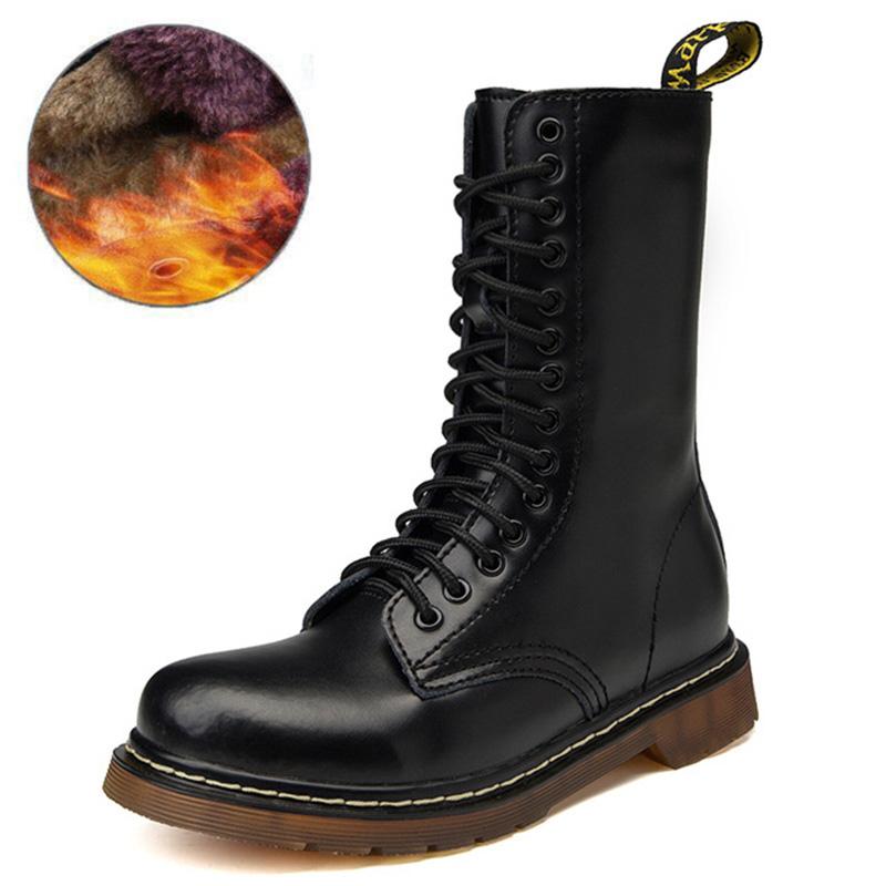 Genuine Leather Men Boots For Martin Boots Winter Shoes Men Combat Military Boots Motorcycle Mid-calf Boots Male Plus Size