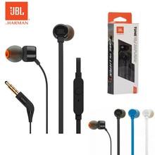 Oryginalny JBL T110 3.5mm przewodowe słuchawki Fone De Ouvido słuchawki w linii sterowania głośnomówiący głęboki bas zestaw słuchawkowy JBL TUNE 110