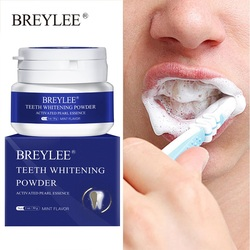 BREYLEE Teeth Whitening Powder Remove Plaque Stains Toothpaste Dental Tools Brighten Teeth Cleaning Oral Hygiene Toothbrush 30g
