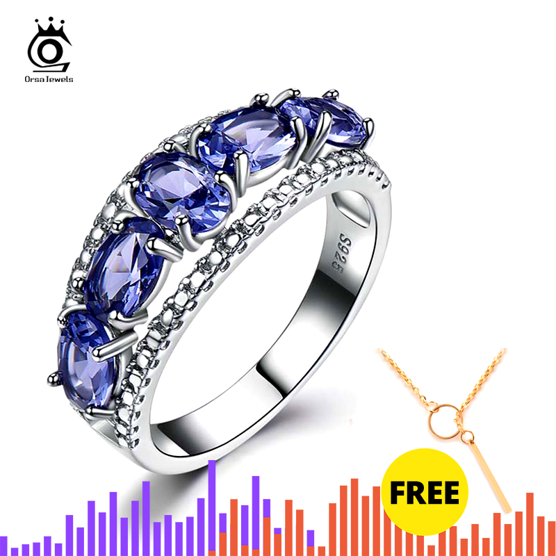 ORSA JEWELS Latest Pure 925 Sterling Silver Fashion Women Bridal Ring Oval Cut Natural Purple Tanzanite  Ring Fine Jewelry VSR18