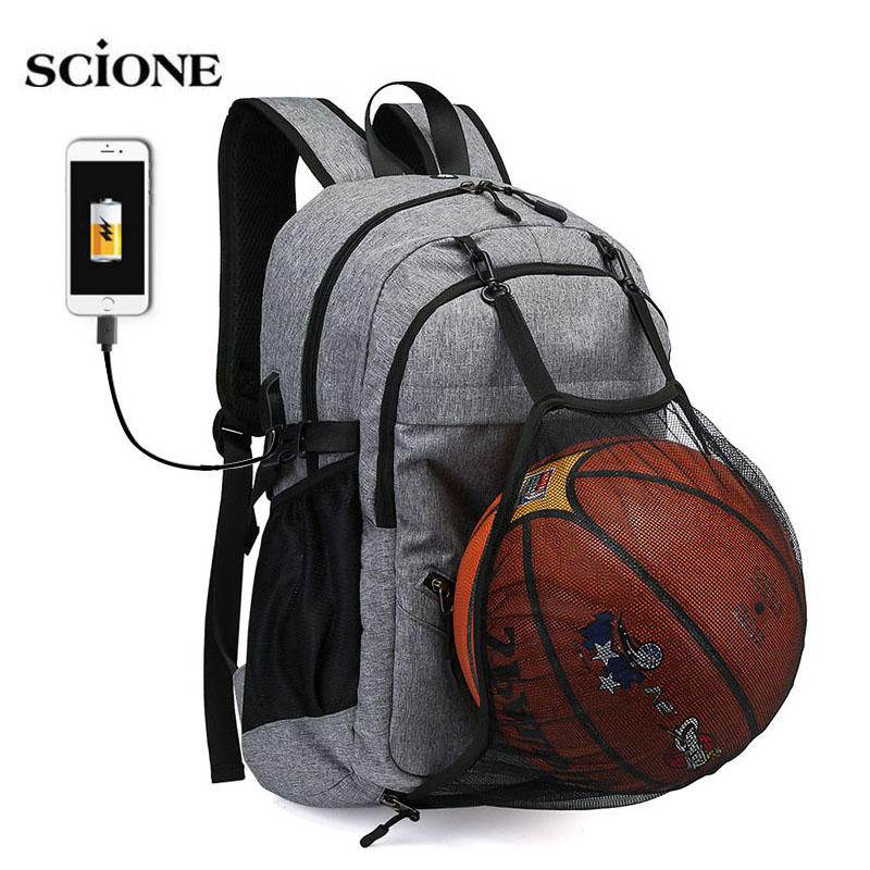 USB Basketball Backpack Gym Fitness Bag Sporttas Net Ball Bags For Men Sports Sac De Sport Tas Men's School Boys Pack XA414WA