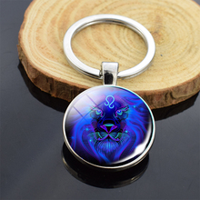 Handmade 12 Constellations Jewelry Zodiac Signs Double Side Glass Cabochon Pendant Keychain for Friends Birthday Gift
