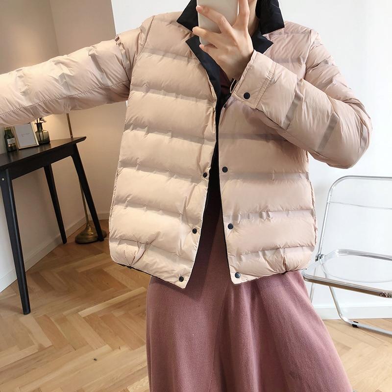 Abrigo de invierno para mujer 2019 abrigo de manga larga con cuello de pato blanco con plumón azul cálido Casaco femenino abrigo de gran tamaño para mujer - 4