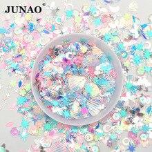 JUNAO 10g Mix Color Size Korea Blue Glitter Sequins Flakes Paillette Face Nail Art Decoration PVC Sequins Stickers for Crafts
