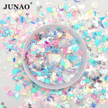 JUNAO 10g Mix Color Size Korea Blue Glitter Sequins Flakes Paillette Face Nail Art Decoration PVC Sequins Stickers for Crafts(China)