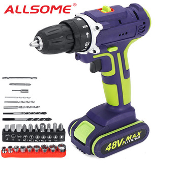 ALLSOME 40V Cordless Drill Electric Screwdriver Mini Wireless Power Driver DC Lithium-Ion Battery With LED lighting 50Nm